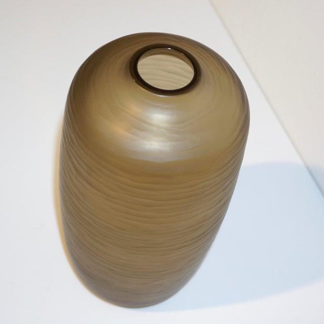 Gold Salviati Vintage Italian Smoked Amber Gold Battuto Murano Art Glass Vases - Set of 4 For Sale - Image 8 of 12