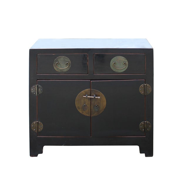 Black Vintage Distressed Black Lacquer Oriental Chinese Side Table Cabinet For Sale - Image 8 of 8