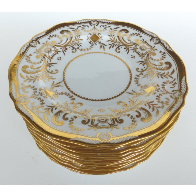 Copeland Spode Gilt Decorated Dessert Plates, Retailed by Wh Plummer- Set of 11 For Sale - Image 9 of 9