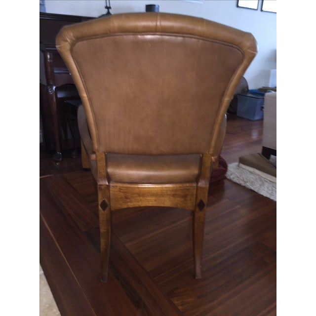 Brown Leather Parlor Chair - Image 5 of 5
