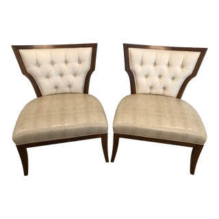 Contemporary Weiman/Preview Custom Accent Side Slipper Chairs- Pair For Sale