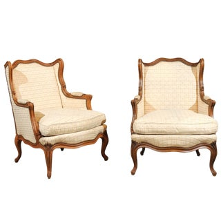 19th Century Louis XV Style Walnut Bergere Chairs - a Pair