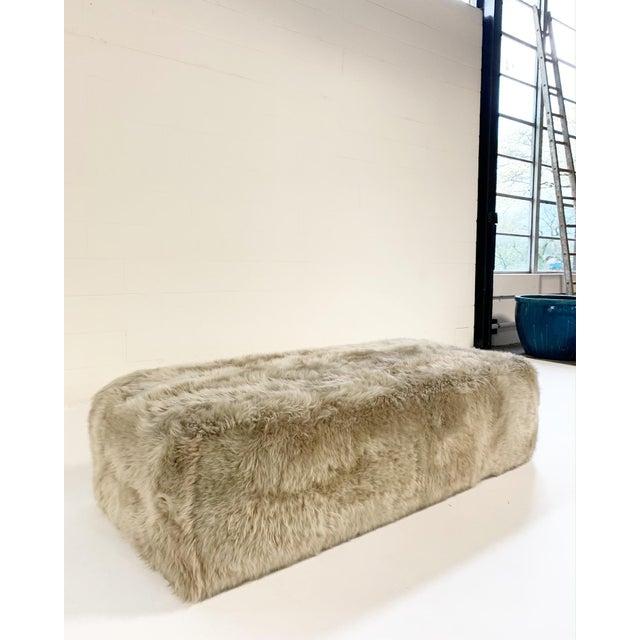 Modern Forsyth Large Sheepskin Ottoman For Sale - Image 3 of 6