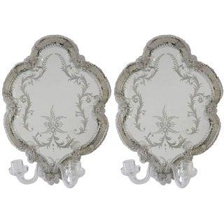 Venetian Rococo Revival Mirror Sconces - a Pair For Sale