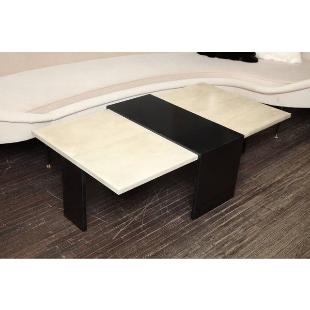 2010s Custom Goatskin Two-Tone Cocktail Table For Sale - Image 5 of 10