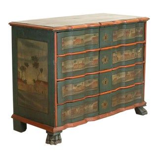 Antique Painted Chest of Drawers With Country Houses in Landscape Motif For Sale