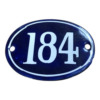 Late 19th Century French Navy Blue Enamel Over Metal Building Number 184 For Sale