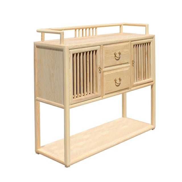 Asian Chinese Raw Wood Open Display Storage Side Table Cabinet For Sale - Image 3 of 6