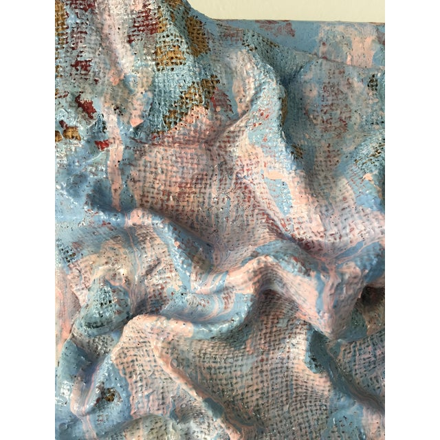 """""""Sky Blue Burlap Drips"""" Mixed Media Wall Sculpture by Chloe Hedden For Sale In Aspen - Image 6 of 13"""