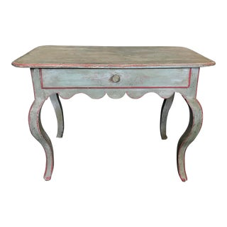 French Provincial Eggshell Blue Country Side Table For Sale