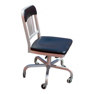 Emeco Navy Semi-Upholstered Swivel Chair For Sale