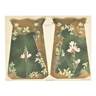 Matted French Art Nouveau Asian Vases Chromolithograph For Sale