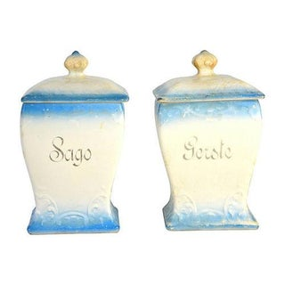 Vintage European Ceramic Pantry Canisters - A Pair