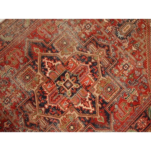 1920s Hand Made Antique Persian Heriz Rug - 5′7″ × 8′1″ - Image 9 of 10