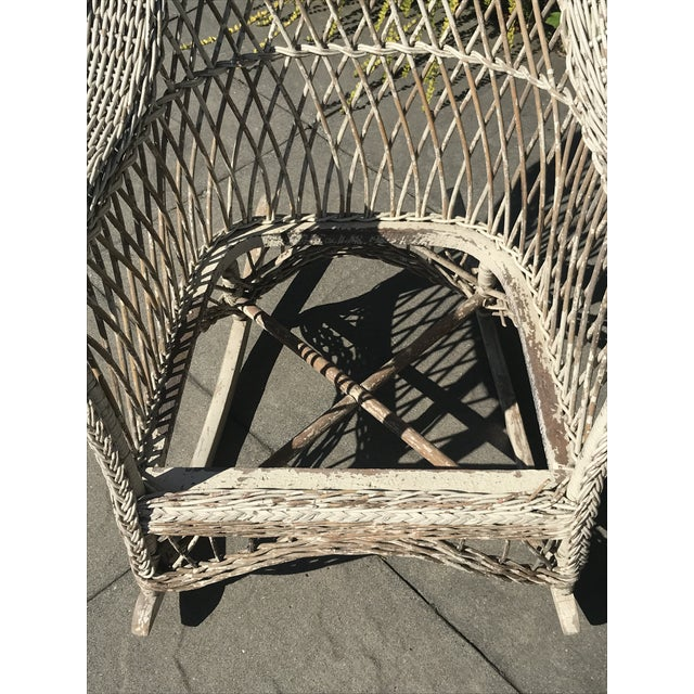 1920s Vintage Wicker Rocker & Chair - a Pair For Sale - Image 5 of 10