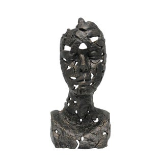 Bronze Style Metal Female Bust Sculpture For Sale