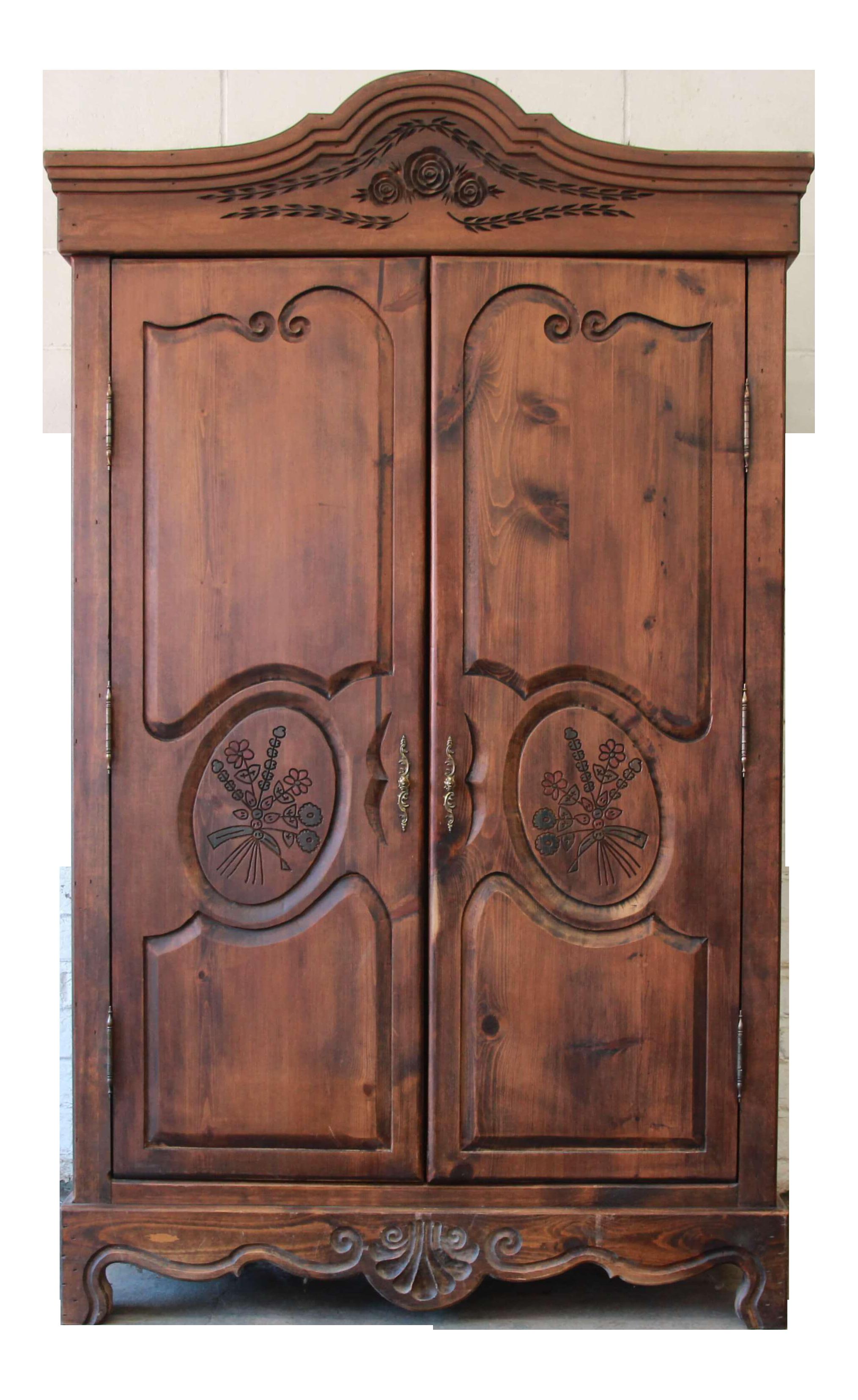 vintage habersham plantation furniture Vintage French Country Spoon Carved Dark Pine Wardrobe by  vintage habersham plantation furniture