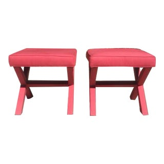 Ballard Designs X Base Red Ottomans - a Pair