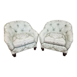 Drexel Heritage Upholstery Collection Damask Tufted Barrel Club Armchairs - Set of 2 For Sale