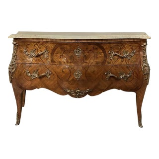 19th Century French Louis XV Bombe With Marble Top Commode For Sale