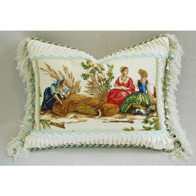 Designer English Harvest Pleated Silk Pillow - Image 4 of 5