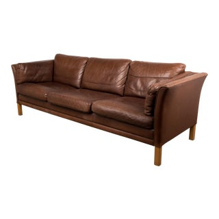 1960s Mid-Century Danish Modern Leather Sofa For Sale