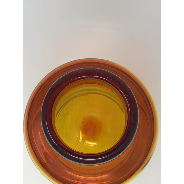 Mid-Century Modern 1960s Mid-Century Modern Blenko Amberina Orange Art Glass Jug For Sale - Image 3 of 8
