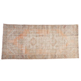 "Vintage Distressed Oushak Rug Runner - 3'9"" X 8'2"" For Sale"