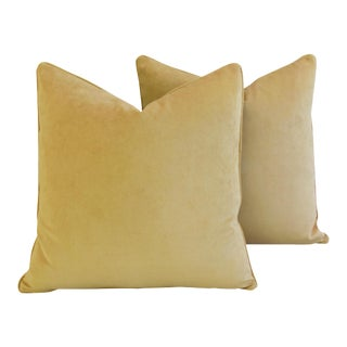 """Large Rich Ultra Soft Golden Velvet Feather/Down Pillows 24"""" Square - Pair For Sale"""