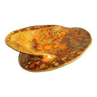 Mid-Century Vintage Drip Glazed Ashtray Signed Mw '75 For Sale