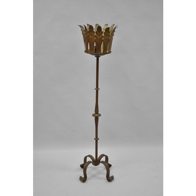 Gold Gilt Iron Gothic Floor Candle Holder Stand For Sale - Image 12 of 12