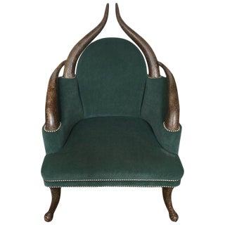 Faux Horn Green Club Chair