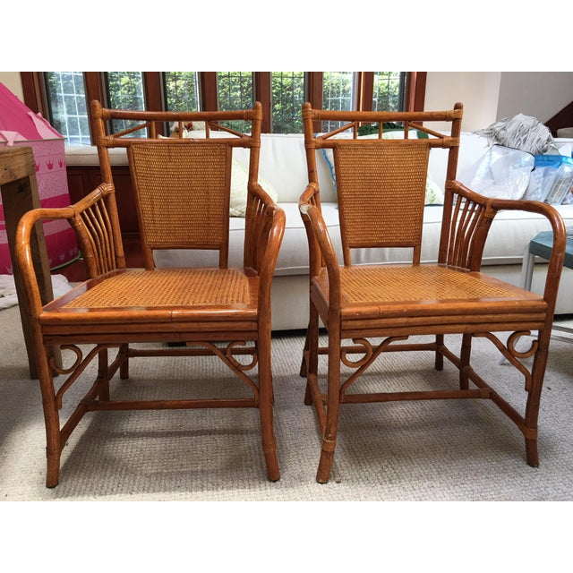 Palecek Cane Seat Armchairs - a Pair For Sale - Image 11 of 11