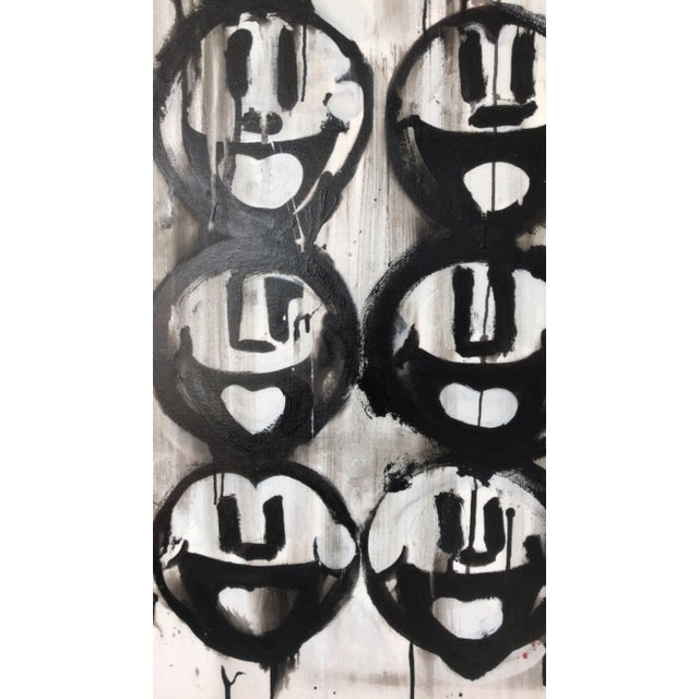 Abstract Madison Faile Twelve Faces Contemporary Artwork Acrylic on Canvas For Sale - Image 3 of 6