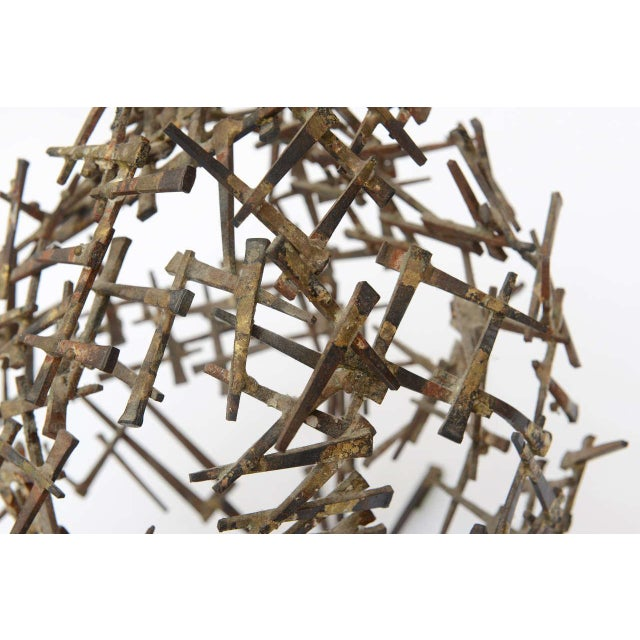 Metal One Of A Kind Brutalist Abstract Nail Tabletop Globe Sculpture For Sale - Image 7 of 10