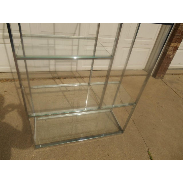 Mid-Century Milo Baughman Chrome & Glass Etagere - Image 6 of 7