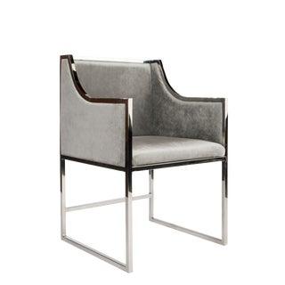 Modern Erin Silver and Gray Velvet Dining Chair For Sale