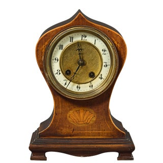 Antique h.a.c. Of Germany Wood Case Mantel Clock For Sale