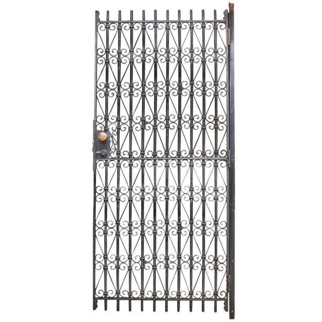 Brass Vintage Industrial Wrought Iron Metal Arts Architectural Garden Gate Door For Sale - Image 7 of 7
