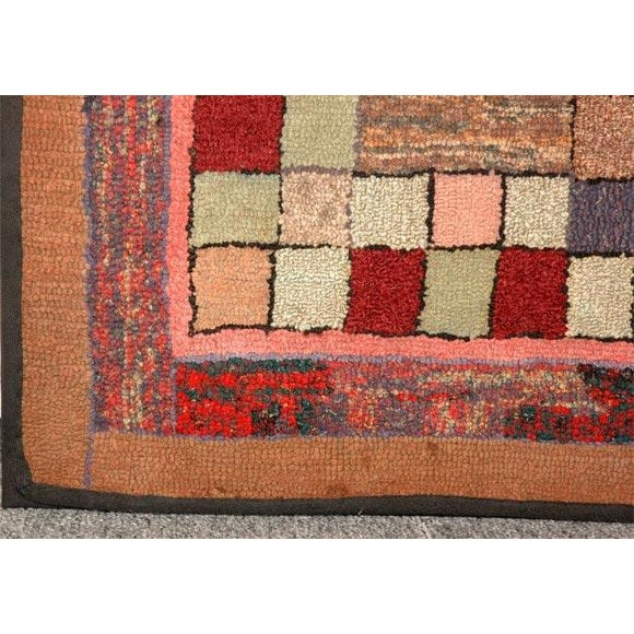 1930s Mounted Blocks Hand-Hooked Rug For Sale In Los Angeles - Image 6 of 7