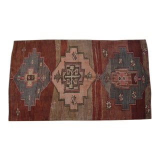 Hand Knotted Rug Turkish Tribal Distressed Area Rug - 4′8″ X 8′1″ For Sale