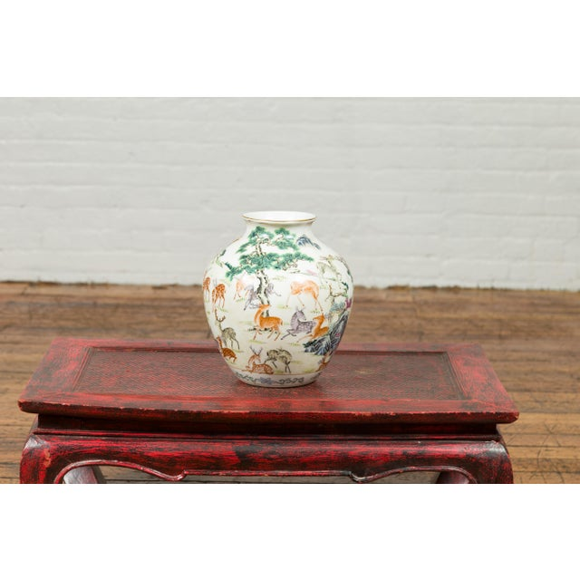 1920s Chinese Porcelain Vase with Gilt Accents, Deer and Mountain Motifs For Sale - Image 9 of 13