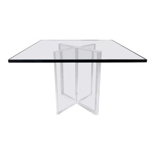 Karl Springer Lucite X-Base Dining Table With Square Glass Top, Signed, 1970s For Sale