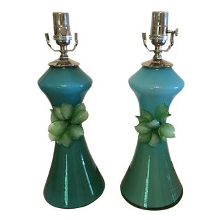 Vintage Hand Blown Green and Turquoise Glass Lamps - a Pair
