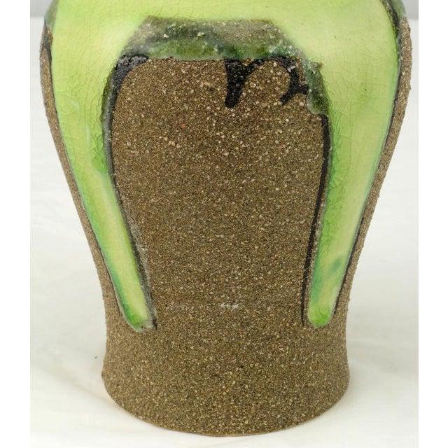 Ginger Jar Shaped Vase In Celery & Rough Sand Glaze For Sale - Image 4 of 4