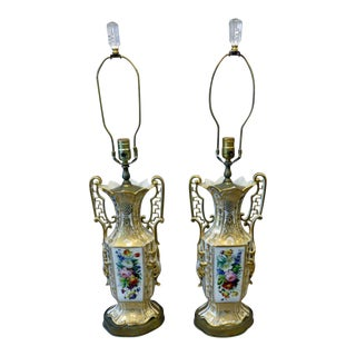 Vintage Old Paris Porcelain Table Lamps - A Pair For Sale