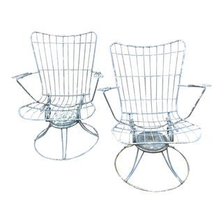 1960s Vintage Homecrest Mid Century Modern Iron Patio Chairs-a Pair For Sale