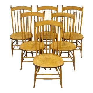 Antique Maple Spindle Back Beehive Finial Dining Chairs - Set of 6 For Sale