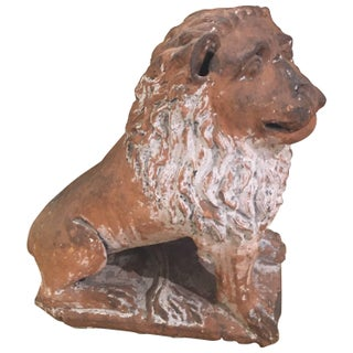 Italian Terracotta Painted Lion For Sale