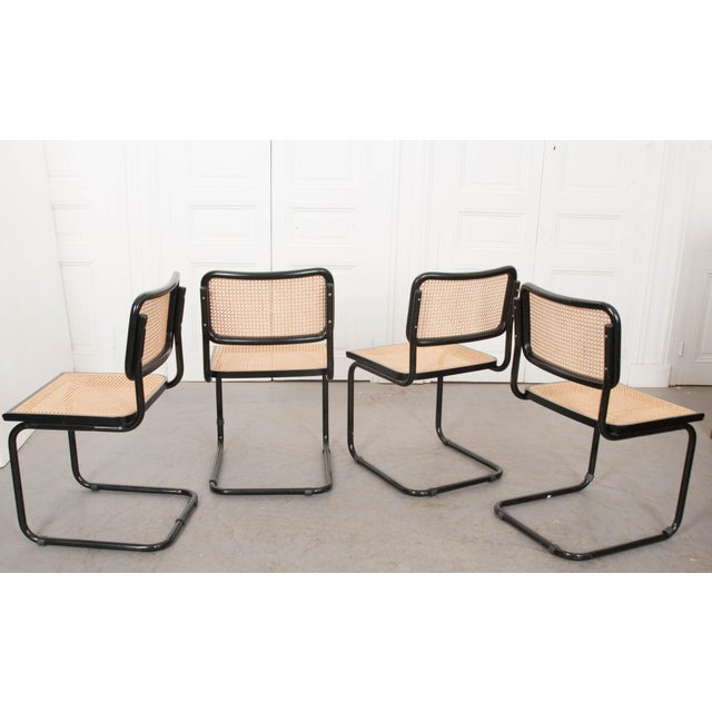 Black Vintage Bauhaus-Style Steel Side Chairs - Set of 4 For Sale - Image 8 of 10